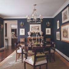 blue dining rooms. needs white curtains/woven wood shades - dark blue dining w/wood tones. rooms n