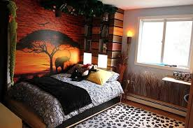 Fabulous Safari Themed Kids Bedroom with African Sunset Wall Decal