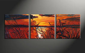 Small Picture Triptych Ocean Sunset Oil Paintings Red Canvas Wall Art