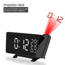 2019 projection alarm clock digital led fm radio alarm projection clock with temperature hygrometer snooze dual usb charging port from zijinflo