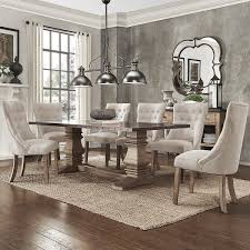 janelle extended rustic zinc dining set tufted chairs by inspire q artisan