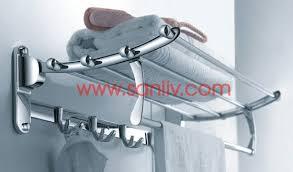 towel rack with hooks. Bath Towel Bar Shelf With Double Robe Hooks Rack