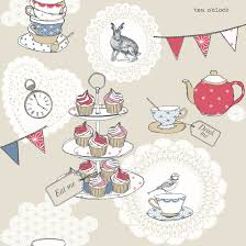 Arthouse Vintage Cream & Red Tea Party Glitter Effect Wallpaper | Clearance  | DIY at B&Q