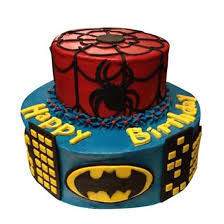 Dual Batman Spiderman Cake Online Cake Delivery Birthday Cake