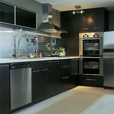 Black And Stainless Kitchen Black Appliances In Galley Kitchen Sharp Home Design
