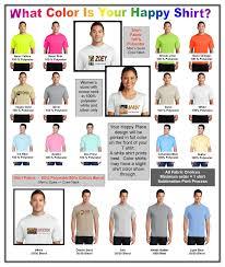 T Shirt Color Chart Happy Place T Shirts