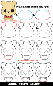 how to draw a cute chibi kawaii winnie the pooh simple steps drawing lesson for beginners kids