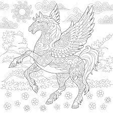 Pegasus Coloring Page Greek Mythological Winged Horse Flying