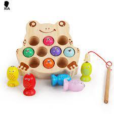 Đồ chơi montessori bằng gỗ cho bé, đồ chơi câu cá trò chơi từ tính chữ số, trò  chơi câu đố giáo dục bắt sâu đồ chơi cho trẻ em quà tặng -
