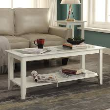 convenience concepts carmel white pine glass coffee table