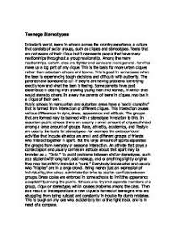 teenage stereotypes gcse sociology marked by teachers com page 1 zoom in