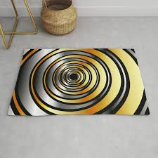 concentric metallic rings in gold and silver metallic texture artwork rug