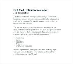 Fast Food Restaurant Manager Resume Restaurant Manager Job Description Template General Examples