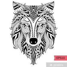 Nálepka Detail Zentangle Vlk Pro Barvení Stránku Tetování Tričko Design Efektu A Logem Pixerstick