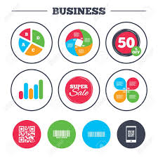 Growth Scan Chart Business Pie Chart Growth Graph Bar And Qr Code Icons Scan