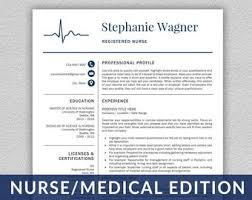 Rn Resume Template Delectable Nurse resume Etsy