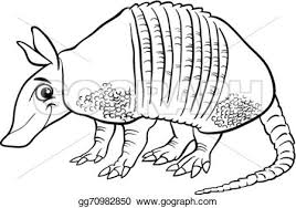 Small Picture Clip Art Vector Armadillo animal cartoon coloring page Stock