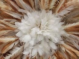 juju feather hat black natural white