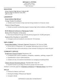 College Resume Template For High School Students Resume Sample