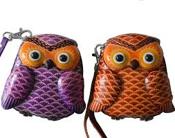 leather owl purse leather wristlet change coin purse lovely baby owl shape