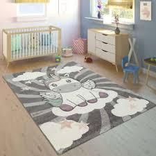 unicorn bedroom rug girls room grey white kids play carpet childrens star mats