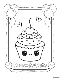 Small Picture cupcake draw so cute Coloring pages Printable