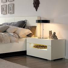 Wonderful Furniture For Bedroom Decoration Using Unique Bedside Table :  Incredible Modern White Bedroom Decoration Using