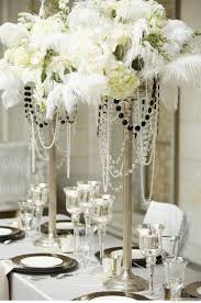 Amazing White Table For Great Gatsby Party Decorations With Flowers Decor  Plus Cups And Plates