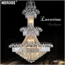 meerosee large hotel silver crystal chandelier light fixture gold or silver re hanging light for restaurant lobby staircase md8514 chandeliers wrought
