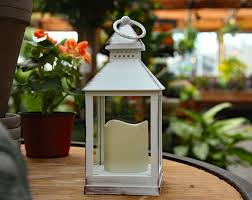 illuminated garden flameless outdoor antique white candle lantern black metal battery operated