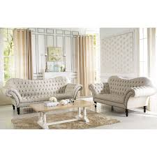 Tufted Living Room Set Baxton Studio Bostwick Beige Linen Classic Victorian Sofa Set By