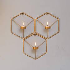 set of 3 metal wall mounted hexagon