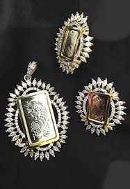 gold plated american diamond studded pendant set