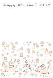 2019年 亥年おしゃれで可愛い年賀状デザイン無料配布3 お花と