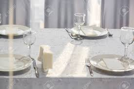 Napkin In Glass Design Catering Table Set Service With Silverware Napkin And Glass