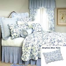 style bedspreads and quilts french country shabby chic brighton blue toile quilt classic blue fl toile on white background and