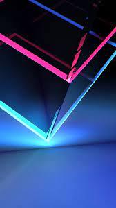 3D Cube Neon Red Blue Light 4K Ultra HD ...