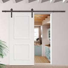 Classic Bent Strap Sliding Track Hardware MDF 2 Panel Primed Interior Barn  Door