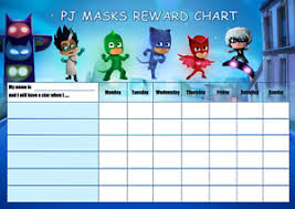 Details About Personalised Pj Mask Kids Character Reward Chart Stickers Magnetic Marker
