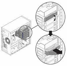 An illustration showing the removal of a hard drive from the hard drive cage