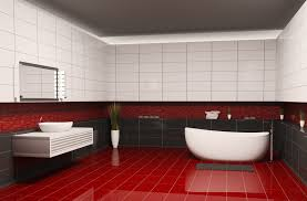 Bathroom Designs with Red Floor and Black Wall Decor