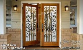 Rustic double front door Rustic White Double Entry Doors Glass Etching Natural Branches Rustic Design Sans Soucie Forest Trees Geekoutwith Forest Trees Etched Glass Front Doors Rustic Design