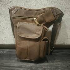 crazy horse leather drop leg waist pouch edc men s fashion bags wallets on carou