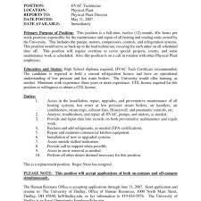 Template Hvac Mechanic Resume Templates Pdf Format Air Conditioning