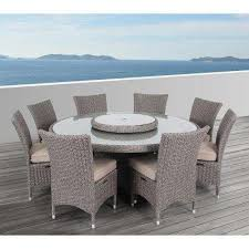 habra ii 9 piece aluminum round outdoor dining set with sunbrella cushions