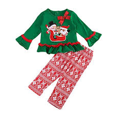 Christmas Kids Baby Girls Clothes Long Sleeve Santa Claus T