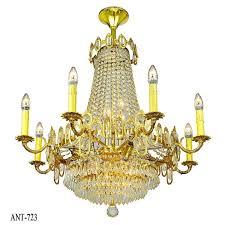 vintage crystal chandelier 16 light rewired elegant ceiling fixture ant 723