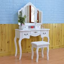 wooden dressing table makeup desk with stool tri fold mirror 5 drawers white bedroom furniture drop
