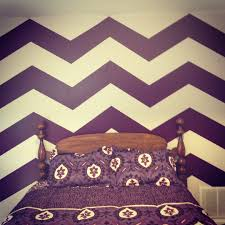 Home Interior:White Purple Chevron Pattern Painted Wall Idea Trendy  Interior Wall Painting Ideas