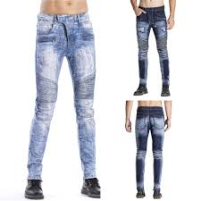 Light Blue Jeans Streetwear High Quality Mens Strech Ripped Biker Jeans Skinny Light Blue Distressed Kanye West Hip Hop Streetwear Swag Pants Dropshipping